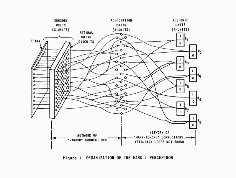 Diagram of the organisation of the Mark 1 Perceptron. Source with feedback loop not shown. Source: Frank Rosenblatt, Mark I Perceptron Operators' Manual. Buffalo, NY: Cornell Aeronautical Laboratory, 1960.