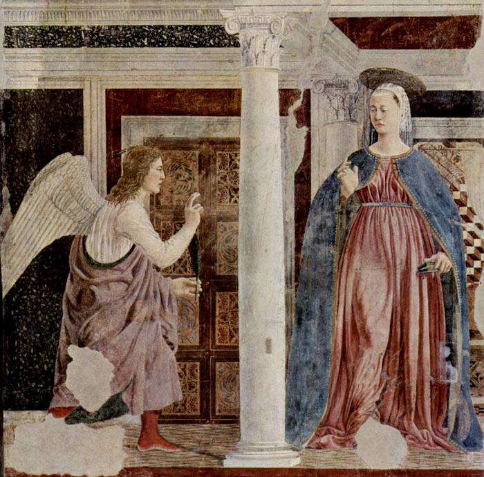 Piero della Francesca, L'Annonciation, 1455, Fresque, 329 x 193 cm, San Francesco, Arezzo