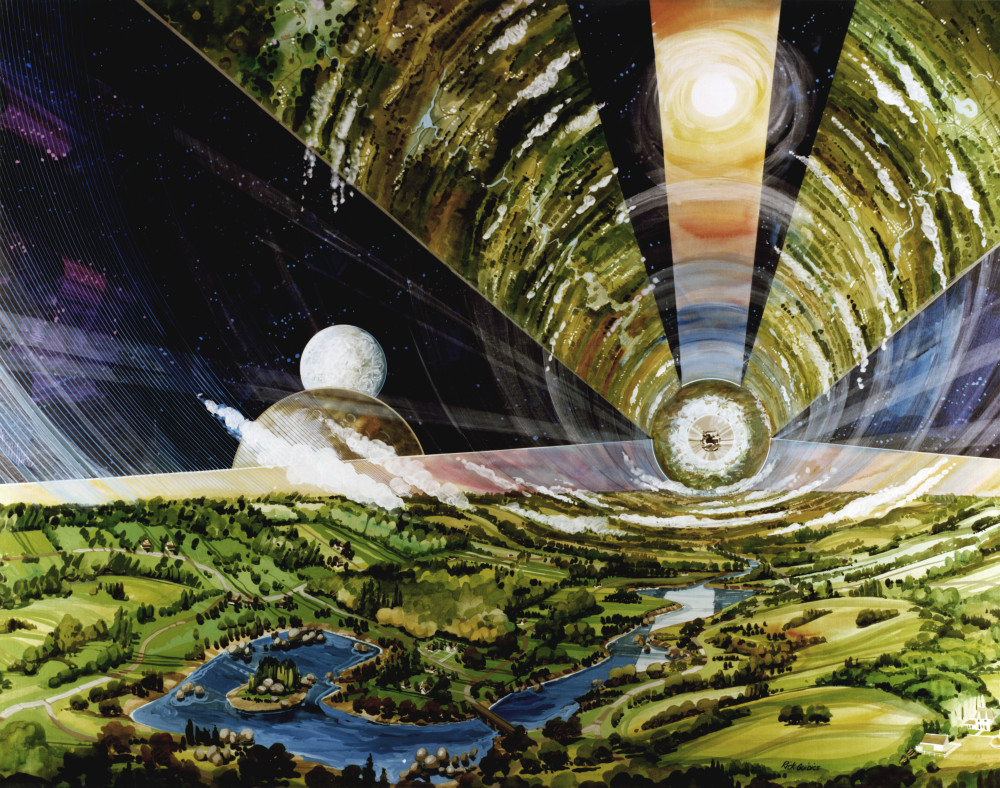 Rick Gudice, View of an O'Neill Cylinder (model for long term space settlement), 1967