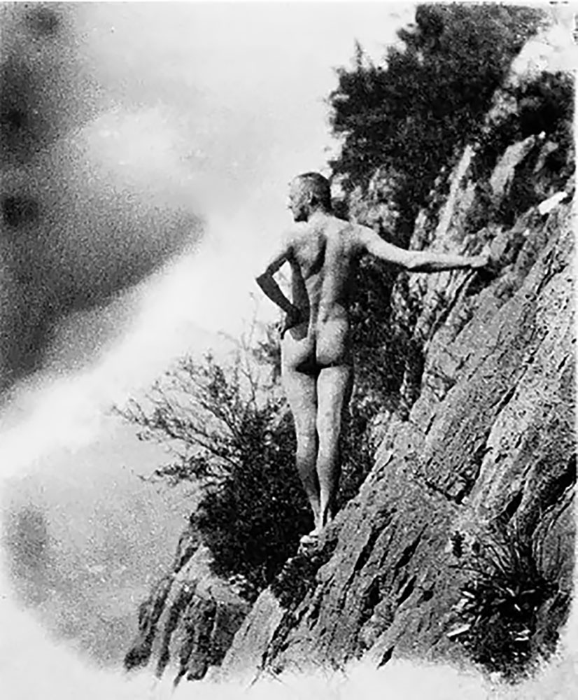 Hermann Hesse enjoying naked mountaineering in Amden, photographed by his first wife Maria in summer 1910. (Image: German Institute of Literature in Marbach)