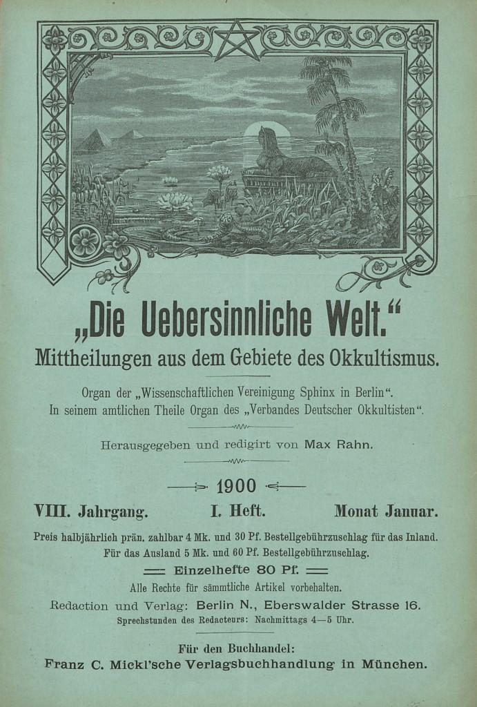 Die Uebersinnliche Welt (Berlin), vol. 8 (January 1900)