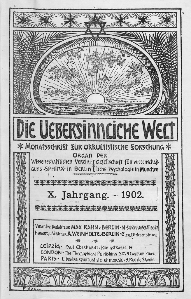 Die Uebersinnliche Welt (Berlin), vol. 10 (January 1902). Design by Fidus (Hugo Höpperner)