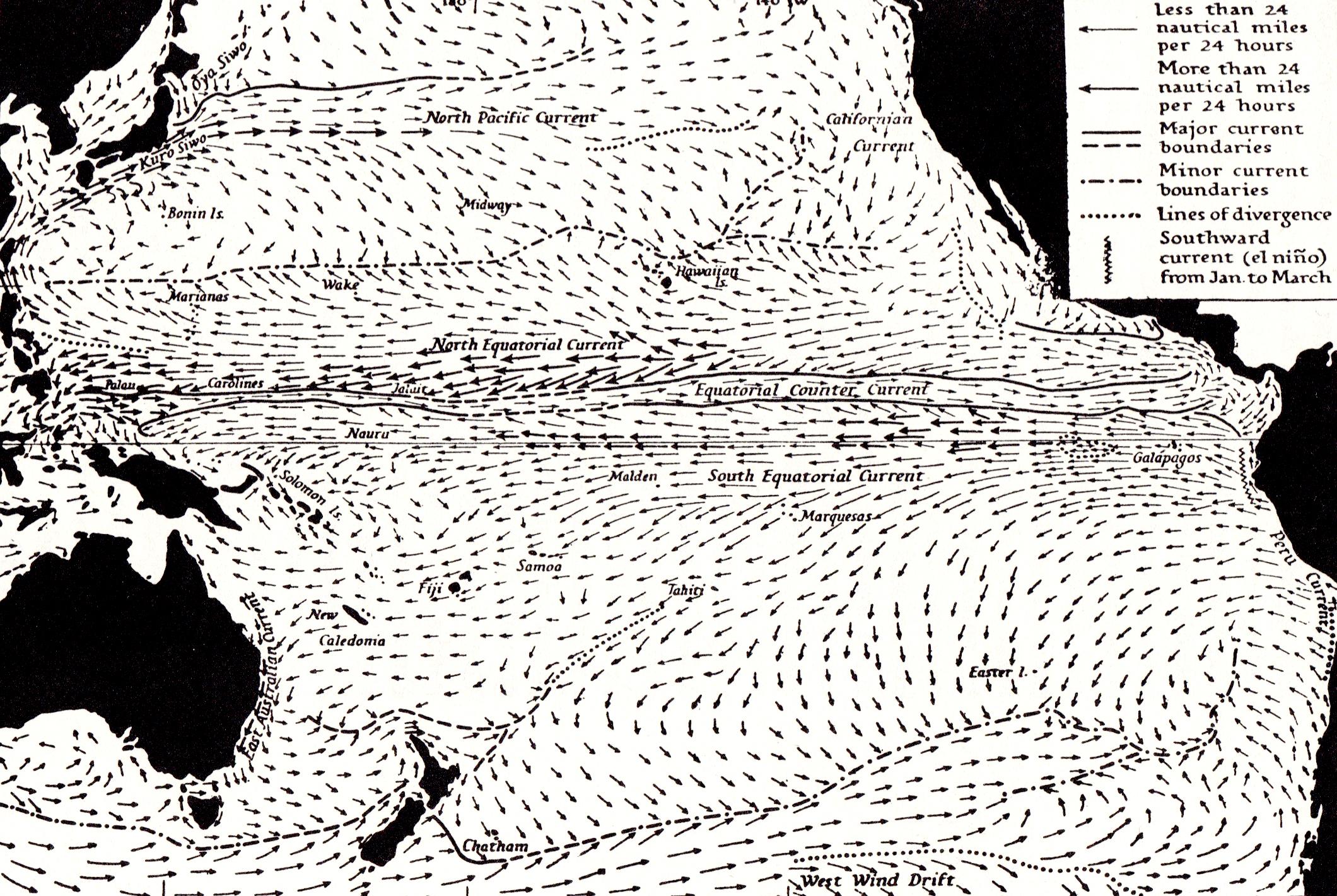 "Winter circulation of currents in the Pacific Ocean. In ""We the Navigators"" David Lewis, Australian University Press, 1975"